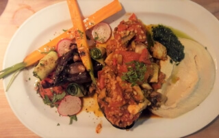 Stuffed aubergine from the grill