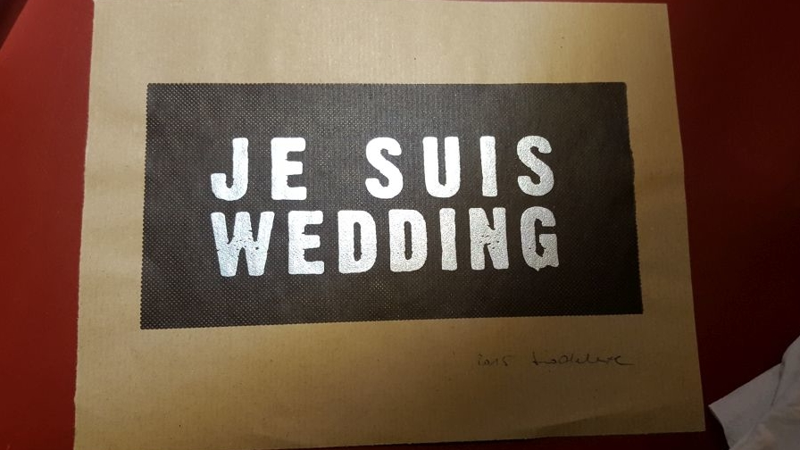 "Art & Pizza Siebdruck mit ""Je suis Wedding"""