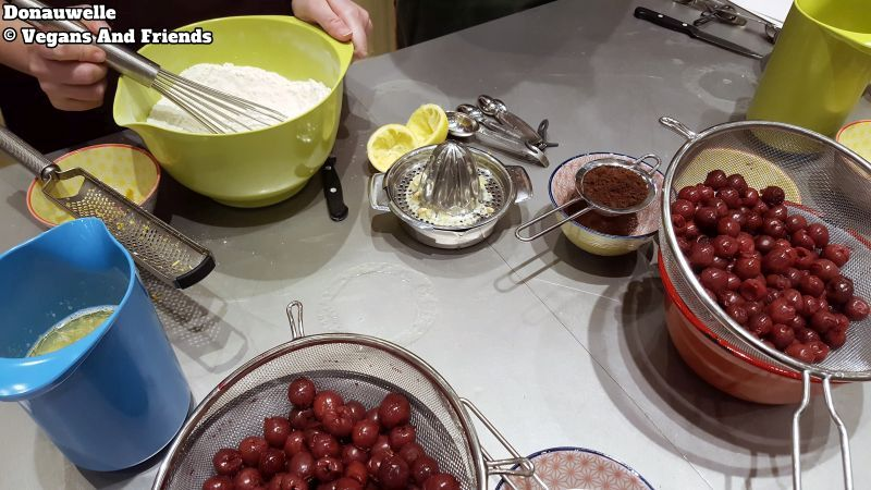 All ingredients for Donauwelle. Lemon, cherries, flour and so on.