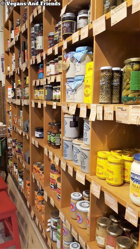 Goldhahn und Sampson deli. Shelfs with various types of mustard, sauces etc.