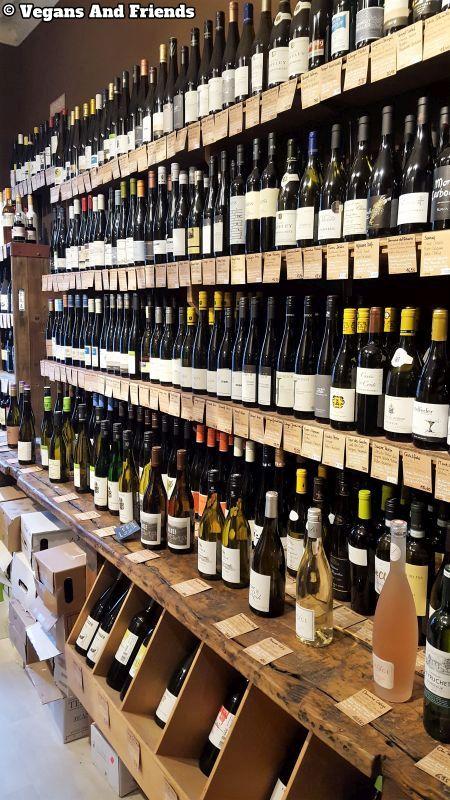 Goldhahn und Sampson wines. Shelfs full of wine from around the world.