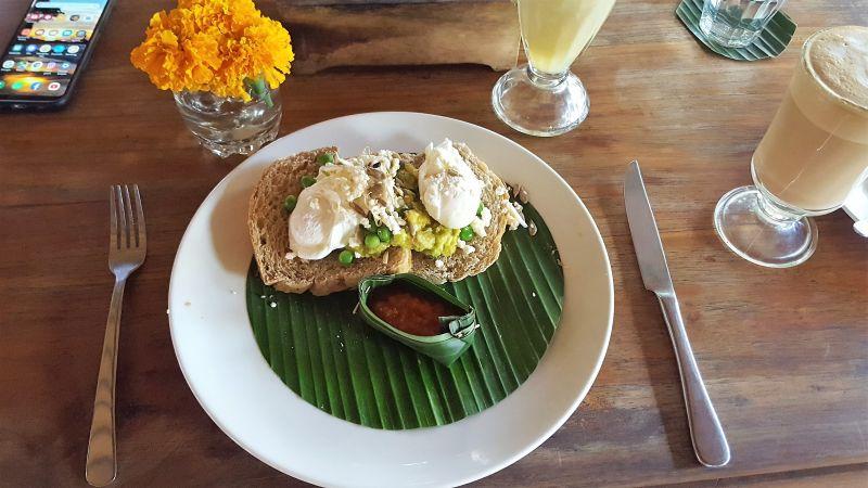 Bali Buda. Frühstück. Avocado Smash. Toast mit Avocado, Sprossen und pochiertem Ei.