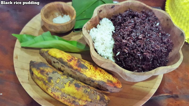 Bali Farm Cooking School. Ingredients for black rice pudding. Black and white rice, palm sugar, salt, bananas and coconut milk.