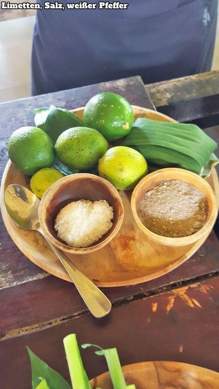 Bali Farm Cooking. Limetten, Salz, weißer Pfeffer.