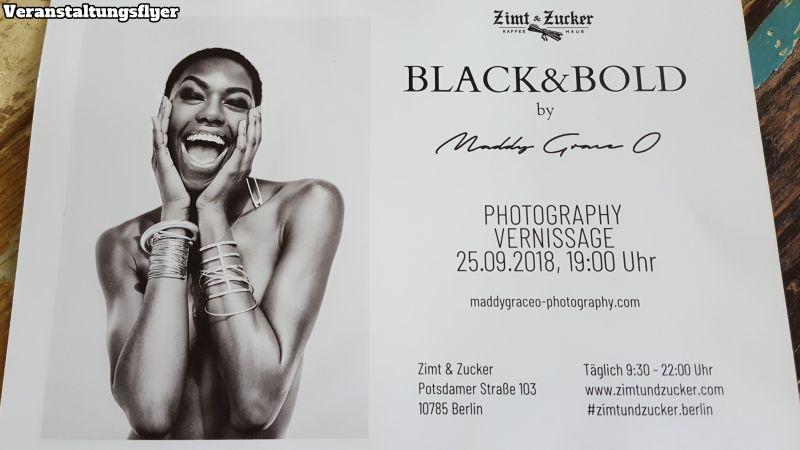 Zimt & Zucker Veranstaltungsflyer. Black & Bold by Maddy Graceo. Fotovernissage.