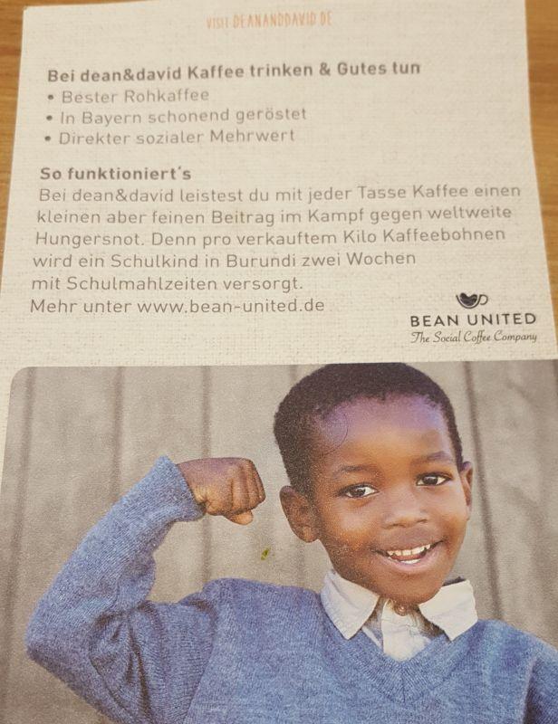 dean&david und bean united. Jeder gekaufte Kaffee unterstützt Schulkinder in Burundi.