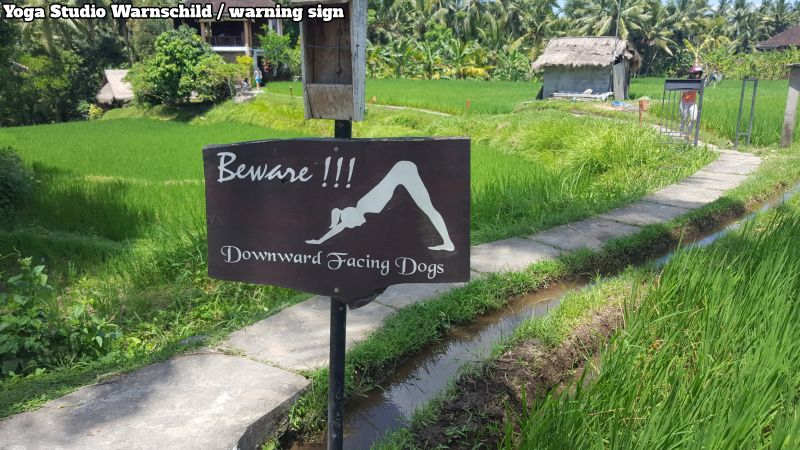 "Ubud herabschaunder Hund. Downward facing dog. Ein Schild mit einer Frau das sagt / a sign with a woman saying: ""Beware! Of downward facing dogs"""