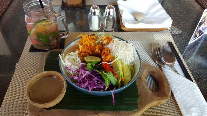 Green Spot Cafe Canggu. Shrimp Bowl with various salads, avocado and marinated shrimp.