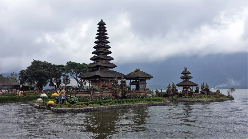 Pura Ulun Danu Bratan water temple which is built in lake Bratan.