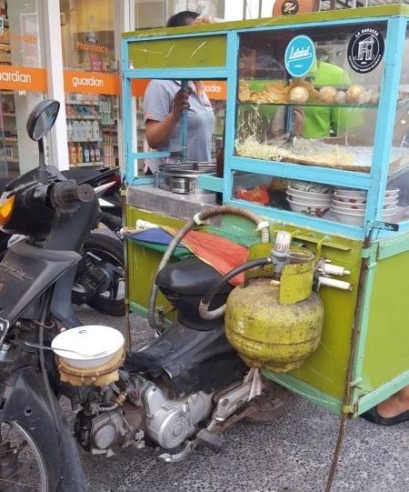 Street food Canggu. Scooter snack bar.