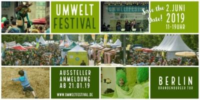 Umwelt Festival 2019. Save the date. 2. Juni 2019, 11 bis 19 Uhr. Berlin Brandenburger Tor.