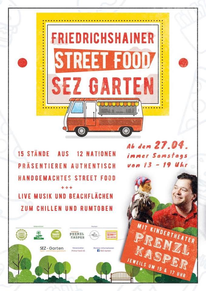 Friedrichshainer Streetfoodmarkt. SEZ Garten. Live Musik und Beachfläche zum Chillen und Rumtoben. Immer samstags von 13 -19 Uhr.