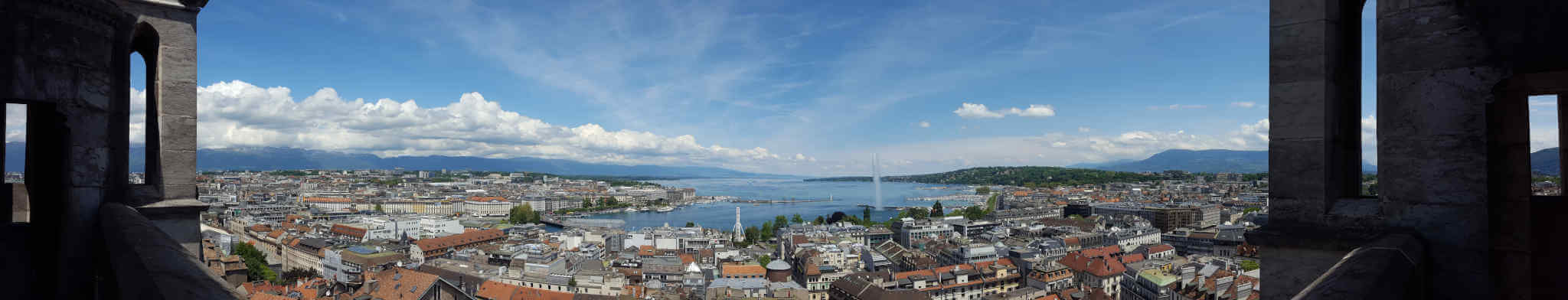 Genf Panorama mit Blick Richtung See.