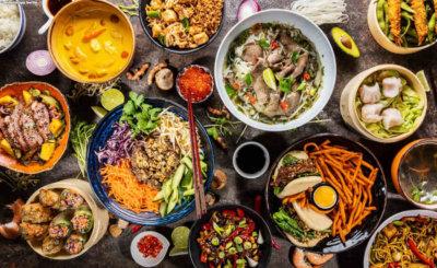 Asian Street Kitchen Festival 2019. Table full of food.