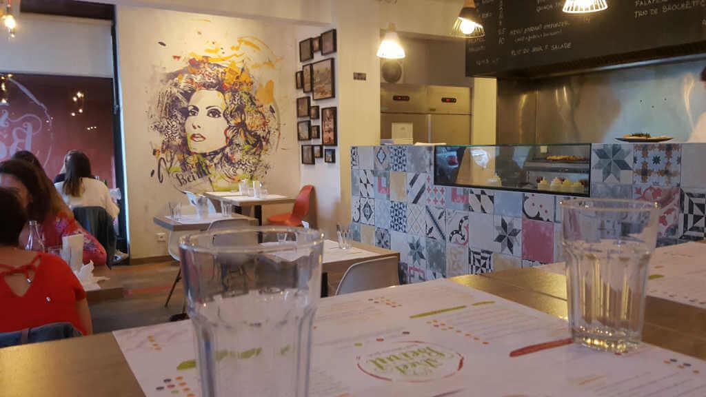 Vegans and non-vegans go out to eat in Geneva. Beirut Street intiriors.