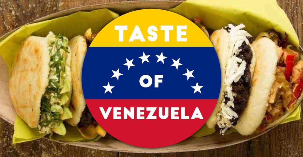 Der Geschmack Venezuelas Wochenende. Taste of Venezuela Schrift und Arepas..