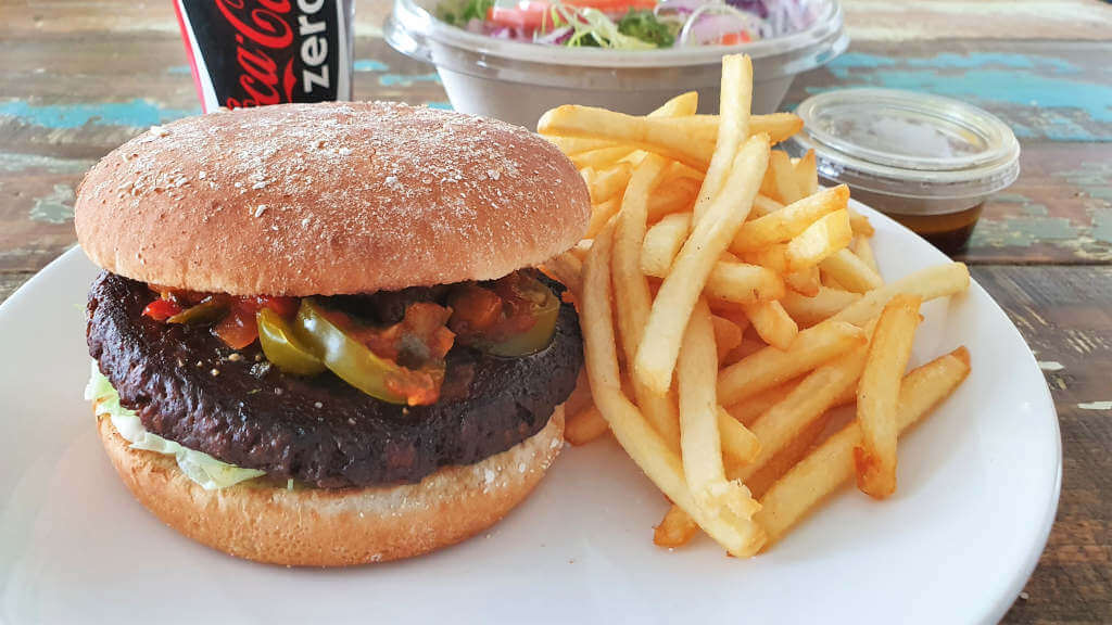Jim Block Hot Salsa Burger mit beefless Patty