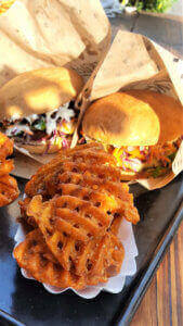 Swing Kitchen Burger with sweet potato grid fries