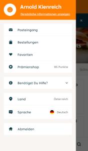 Lieferando App Benutzerkonto Menü