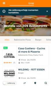 Lieferando App Restaurantübersicht