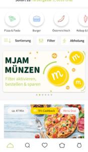 Lieferdienste Graz - Mjam App Startbildschirm